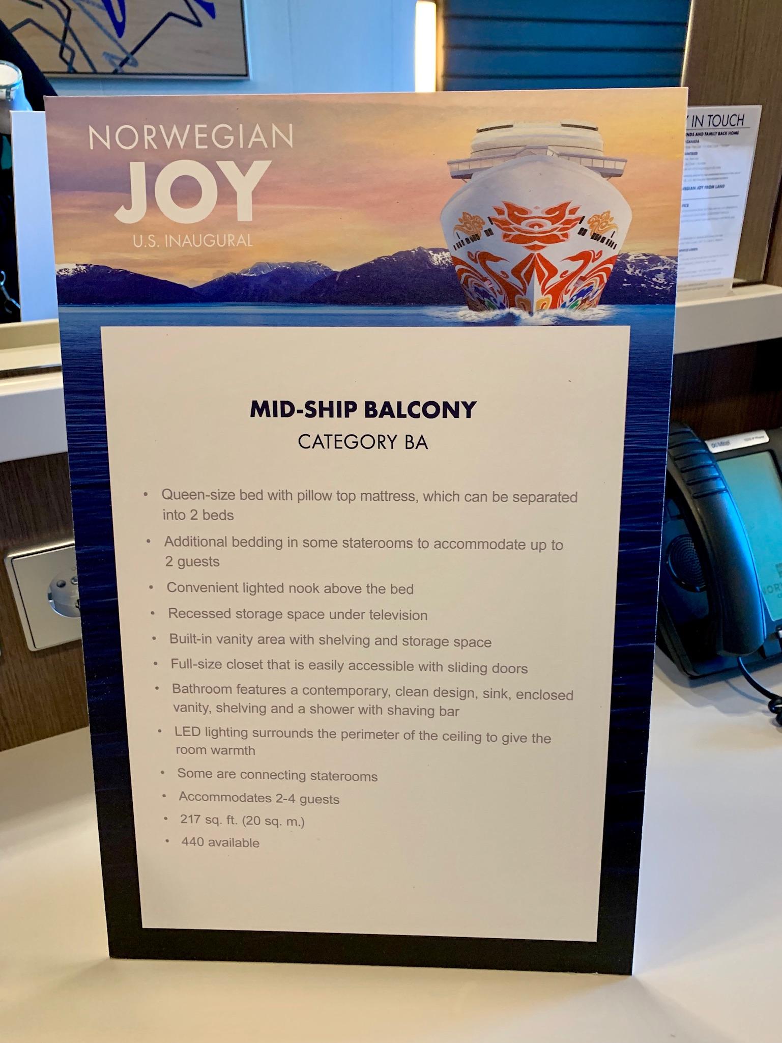 NCL Joy Midship Balcony Room