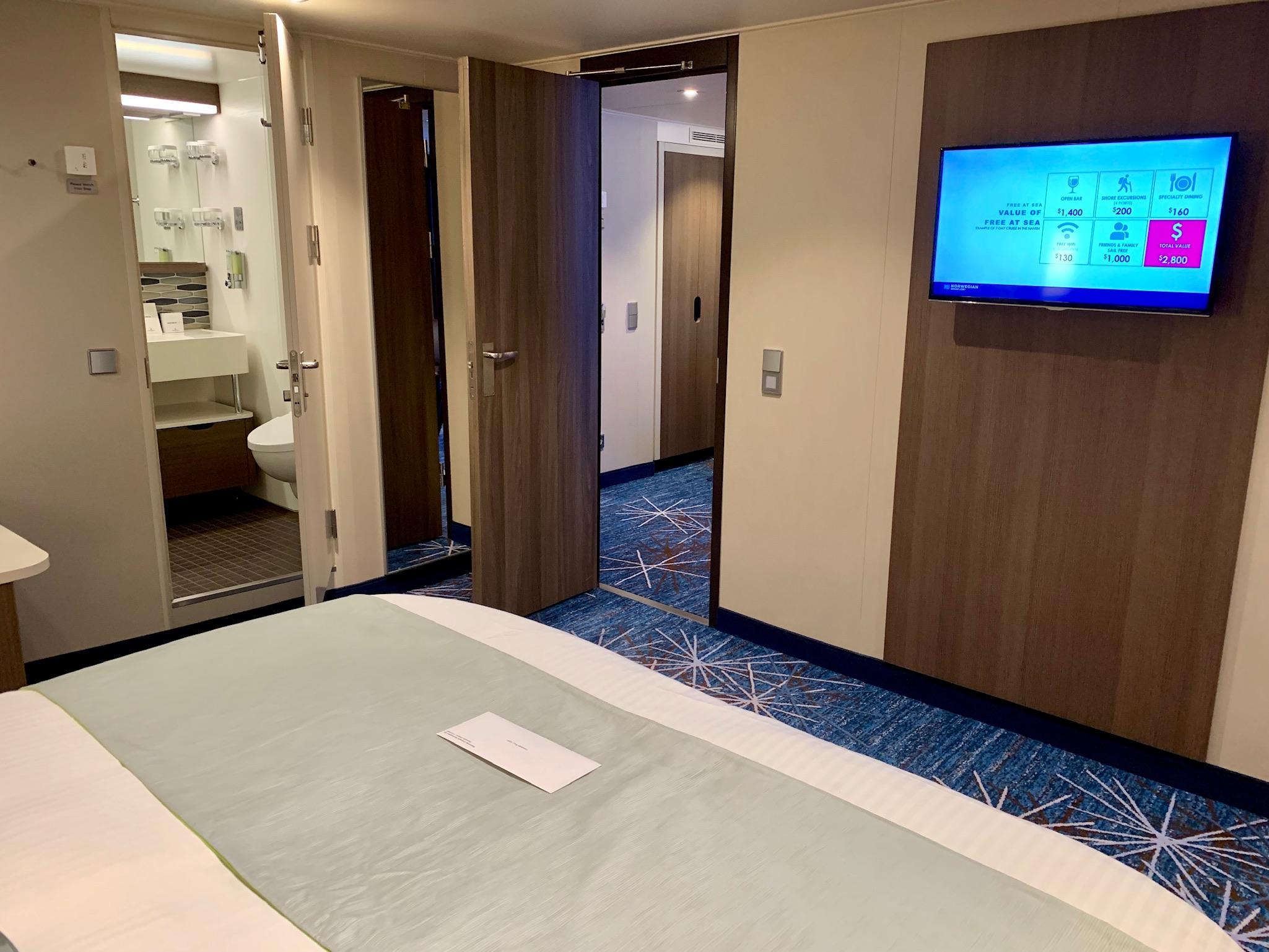 NCL Joy Concierge Family Suite Master Bedroom Storage-Media Wall