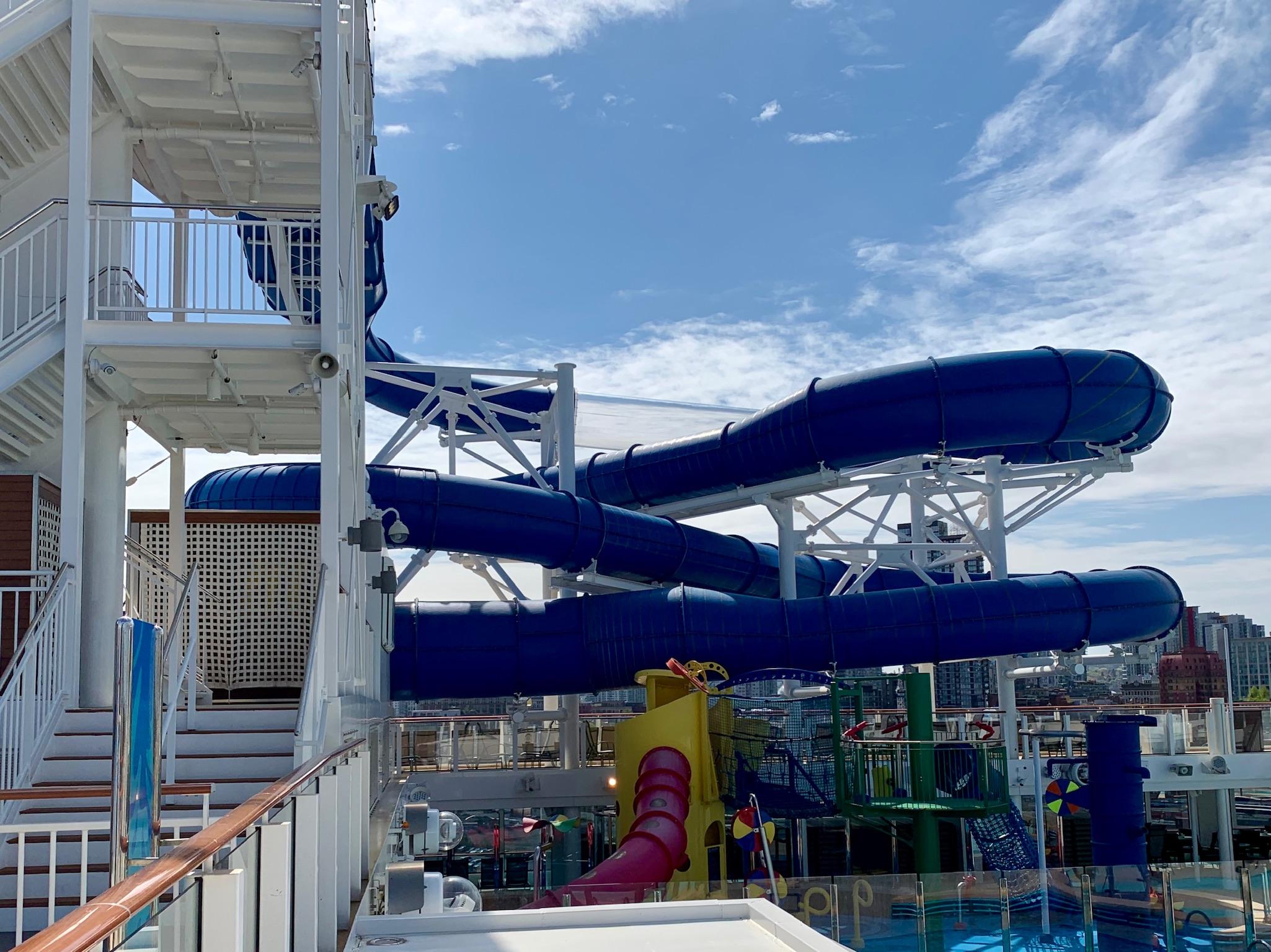 NCL Joy Pool Deck Water Park Slide View