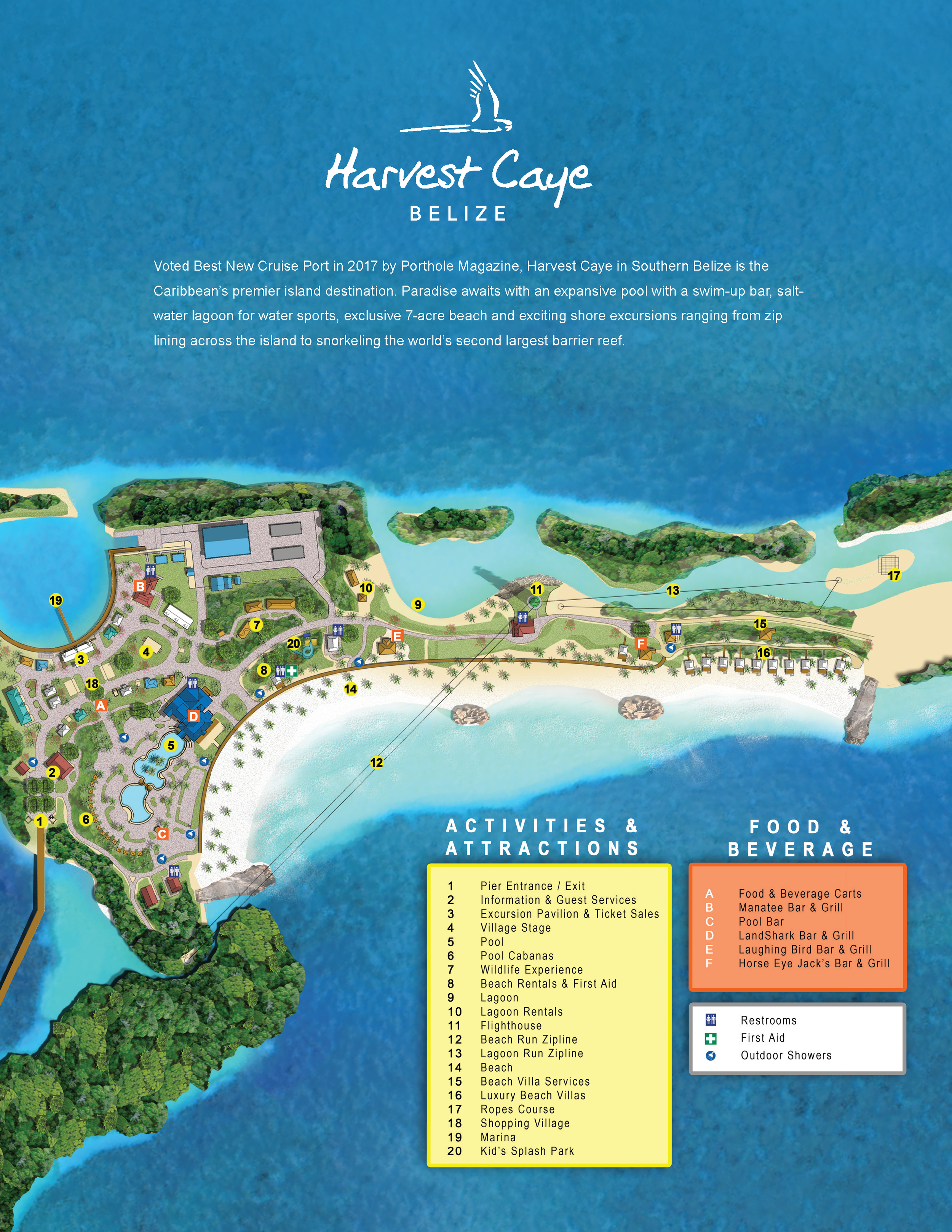 Map of Harvest Caye Belize (c) NCL