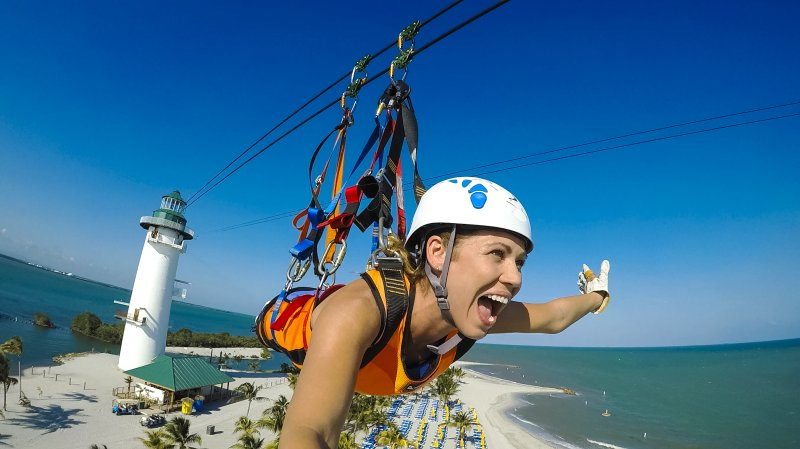 Ziplining on Harvest Cay - Norwegian Private Island Belize (c) NCL