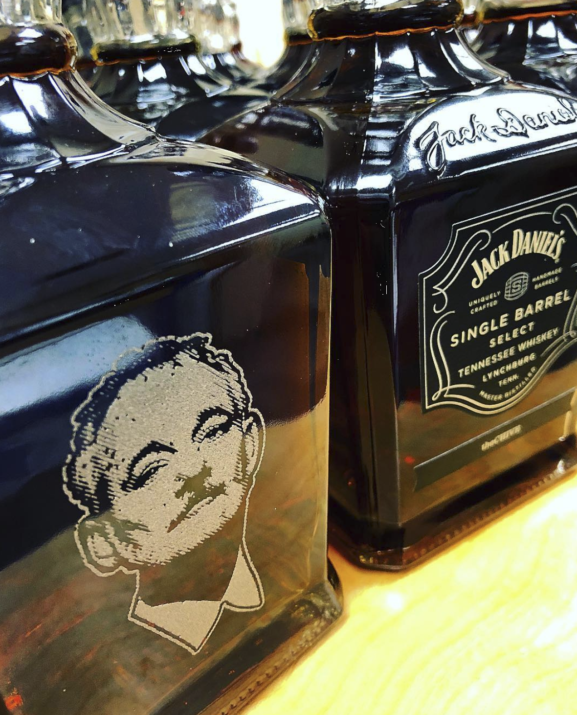 For the Chive we laser engraved the BFM logo on one side of the Jack Daniels bottle and their logo on the opposing side.