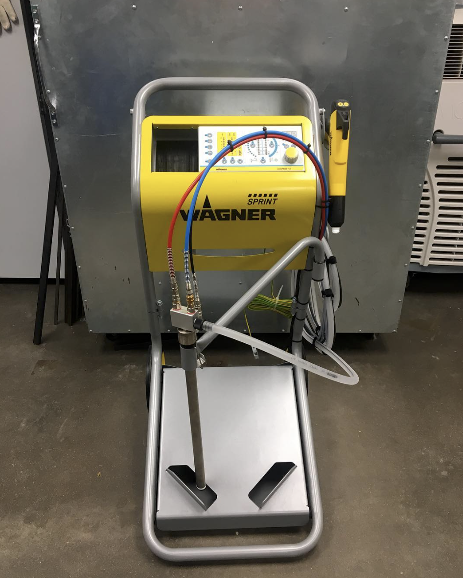 Our new Wagner Sprint powder coating system!