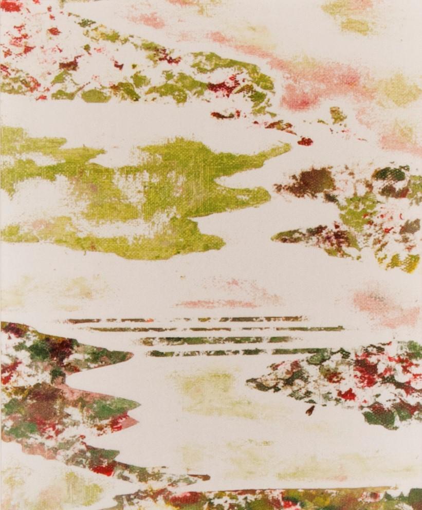 Corina Ishikura Sem título, 2017, A 30 X L 20 cm, encaustica fria (mistura de tinta a óleo, cera de abelha e óleo de terebentina) sobre tela, com moldura de madeira