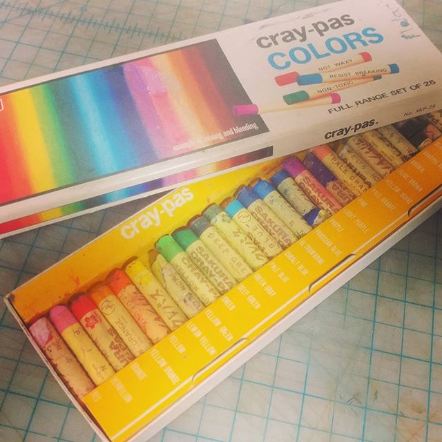 Some vintage art supplies. My brother had this set when I was 6 or 7, and I would sneak into his room and open the drawer, carefully open the box and admire the array.  Eventually I got my own, and a full set of Prismacolor colored pencils too. Oh the joy!