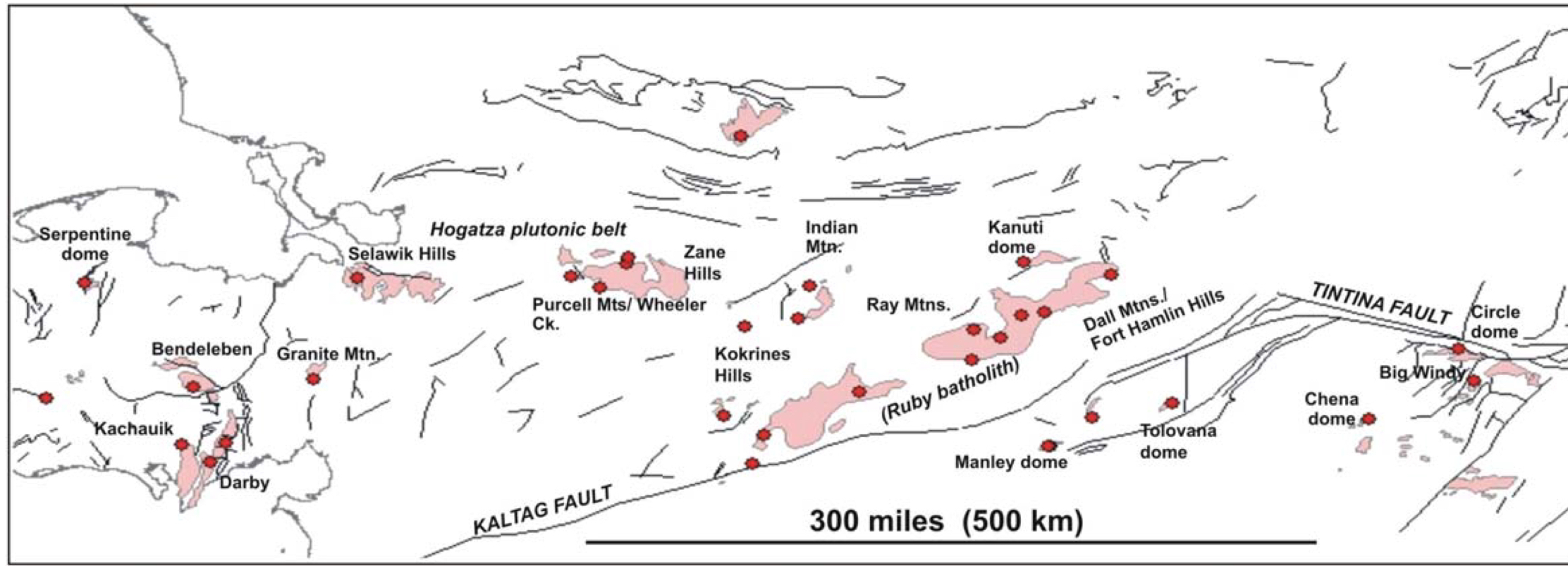 """The Central Alaska Hot Springs Belt, and associated plutons. Chena and Manley are in the bottom right. (Kolker, 2008). The Cretaceous plutons often form the core of """"domes"""", which are basically just rounded hills."""