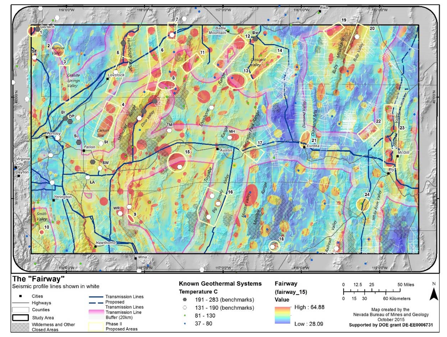 Final product of the Play-Fairway analysis of the Great Basin. Most favourable areas for new geothermal development are highlighted in bright red, based on a statistical analysis of numerous layers of of data. Source: Faulds et al., 2016.