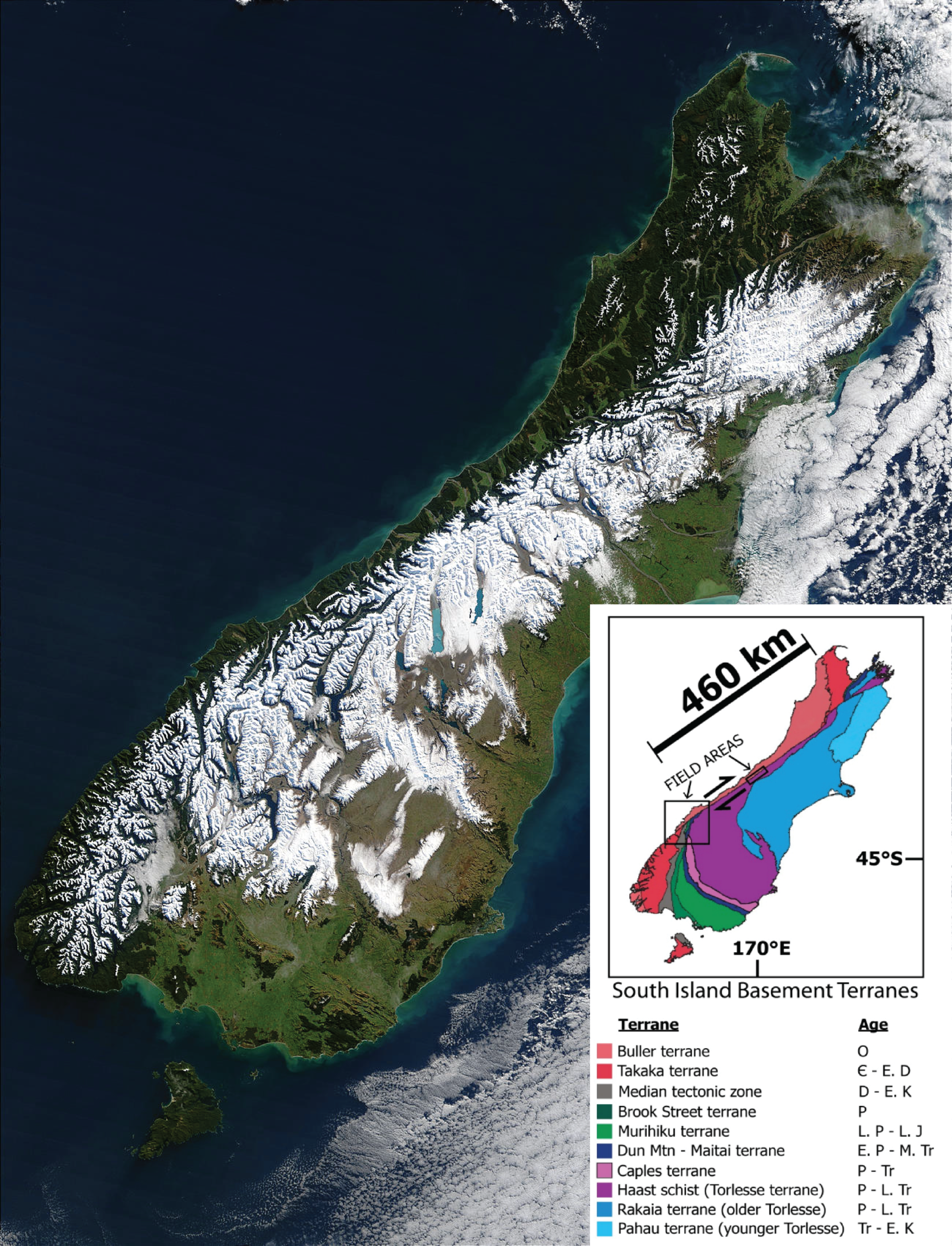 The snowline after a major 2003 blizzard clearly delineates the Alpine Fault along the west coast thanks to rapid tectonic uplift on the eastern side of the fault (Source: NASA Earth Observatory). Inset shows the major basement rock terranes of NZ (Barth, 2012). The Dun Mountain - Maitai terrane (dark blue) is a key piercing point, offset by ~460km.