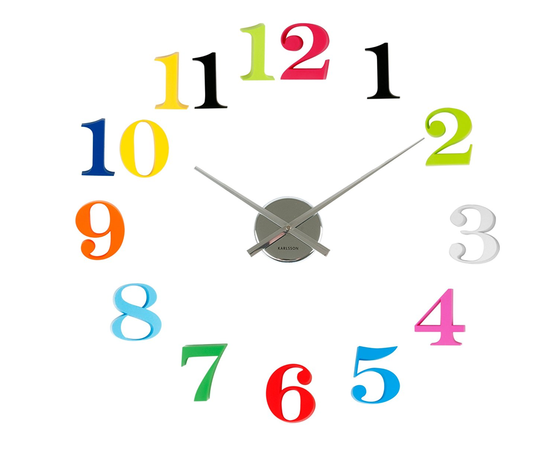 Present Time Karlsson Diy Grand Numbers Wall Clock, Multi-Colored