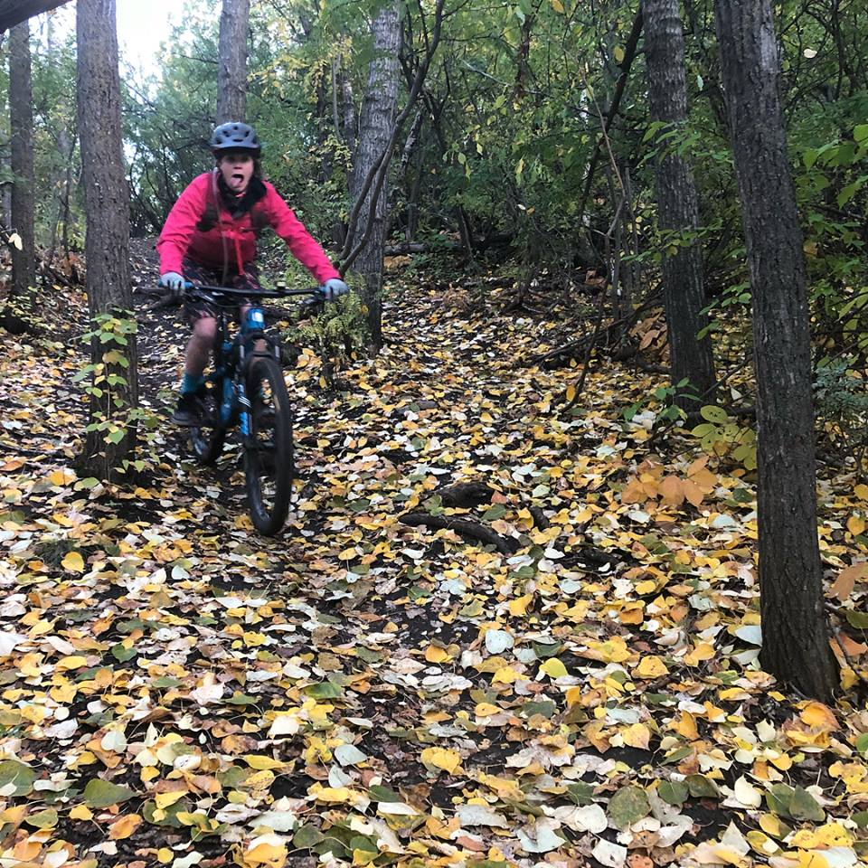 WOW Rider, Tara, loving the fall riding.