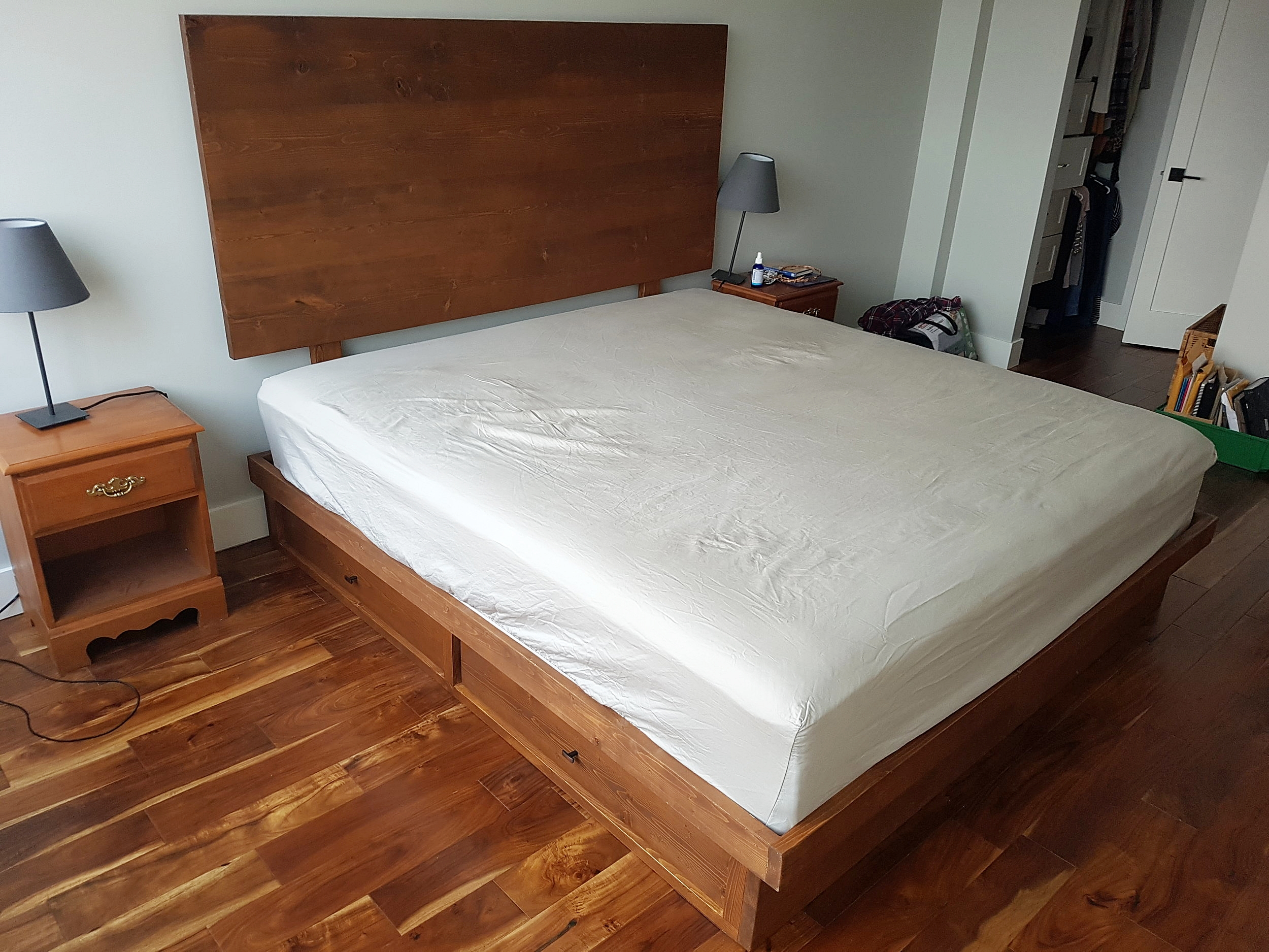 Mid-Century Modern King Bed Frame with Drawers
