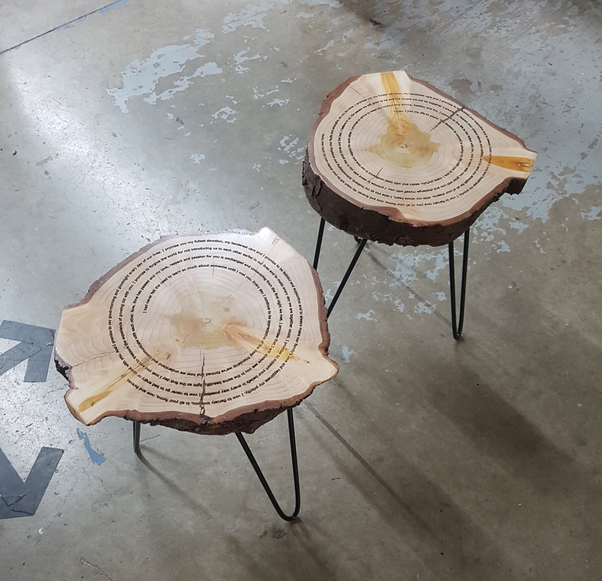 Live Edge Cookie Side Tables with Laser Engraving and Hairpin Legs