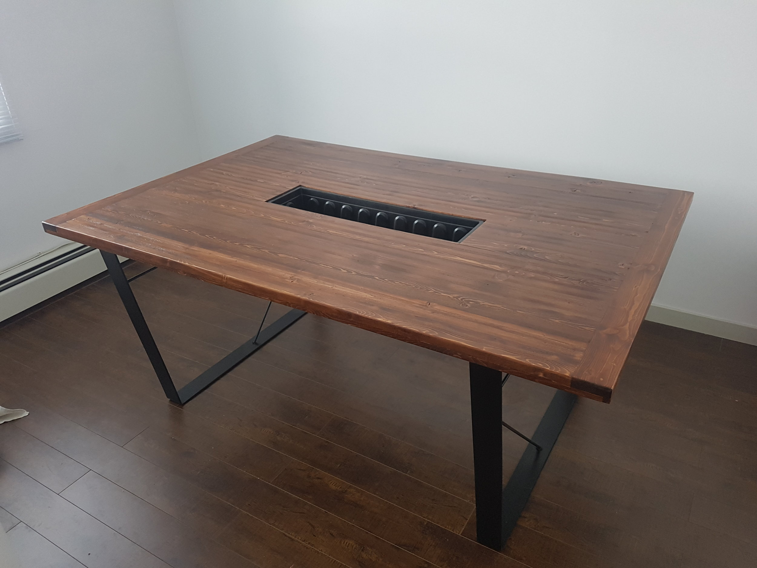 Boardroom Table in Early American with Bent Industrial Legs & removable cooler/plant holder.  Poolservice Productions, Chinatown Vancouver, BC.