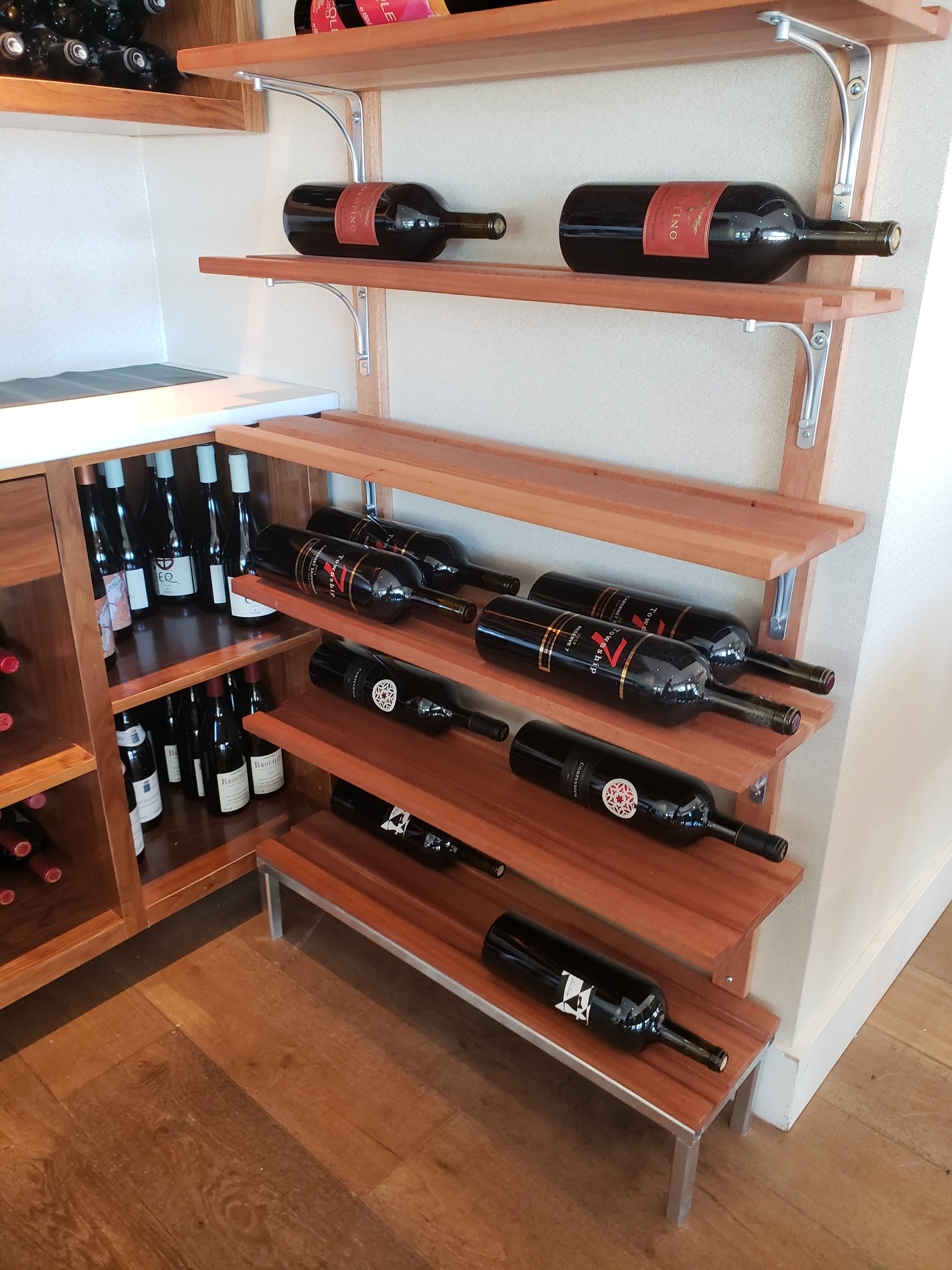 African Mahogany Wine Rack. With Chrome Accents.  Ancora Fine Dining, Howe St. Vancouver, B.C