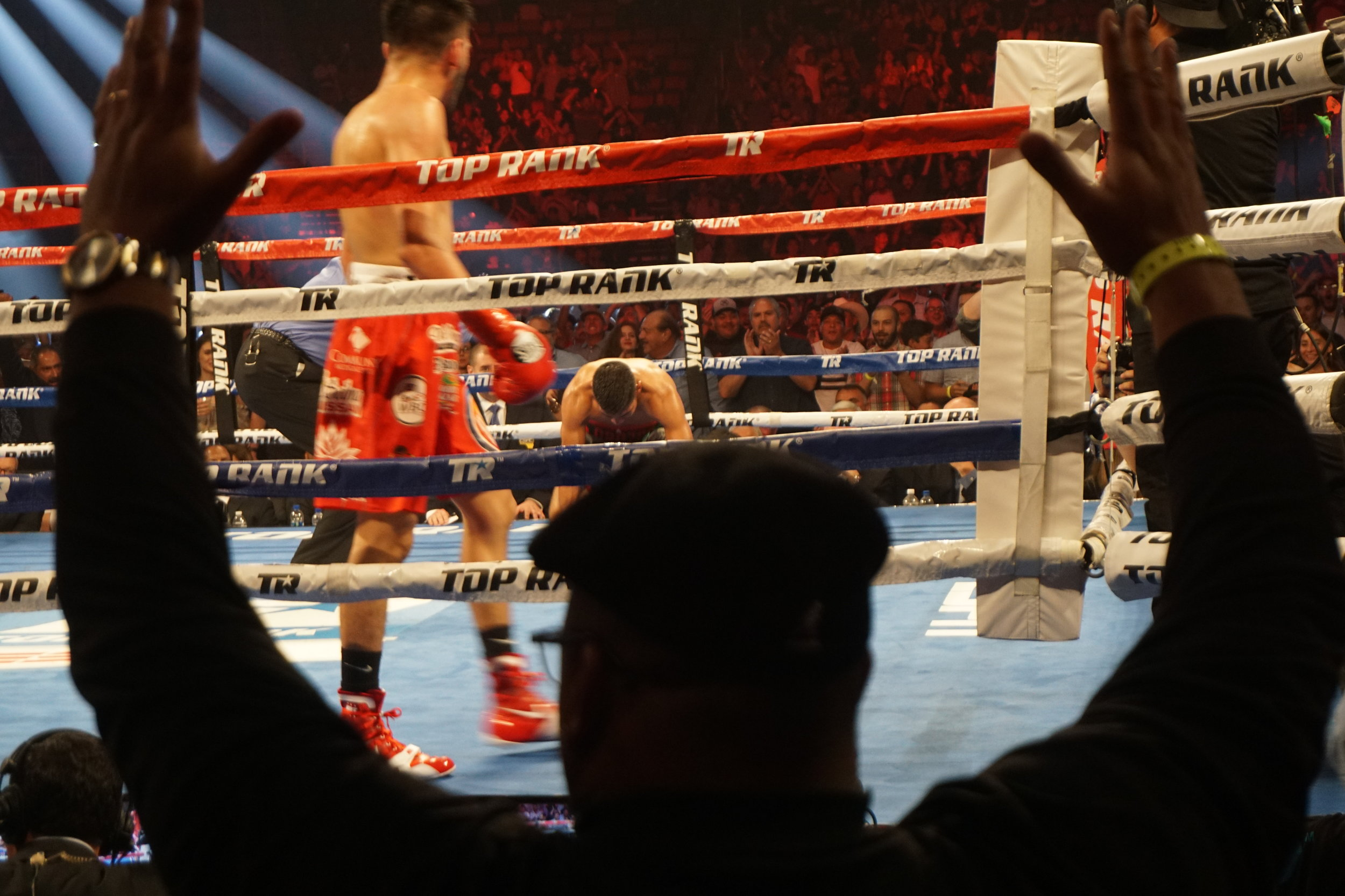 Antonio Orozco knocked down by Jose Ramirez
