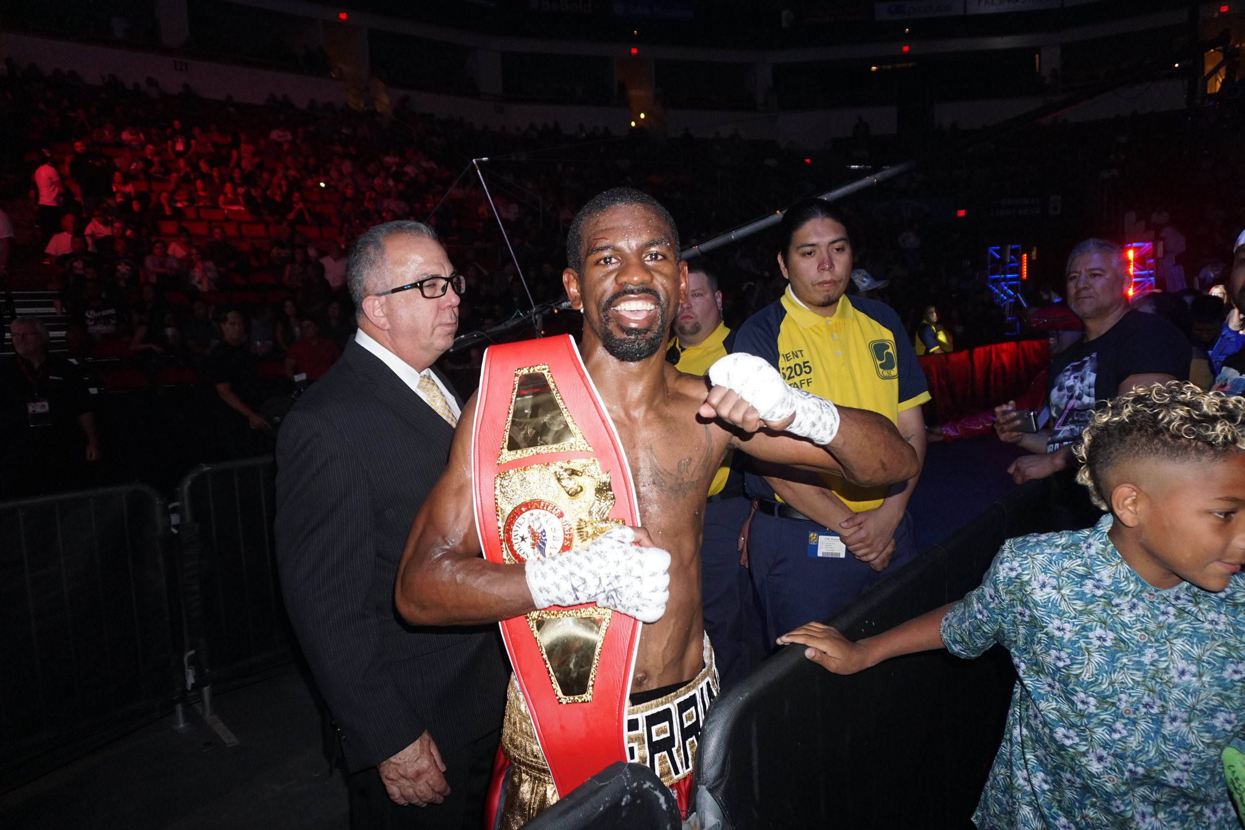 Military veteran Jamel Herring following his USBA 130 Title victory over John Moralde.