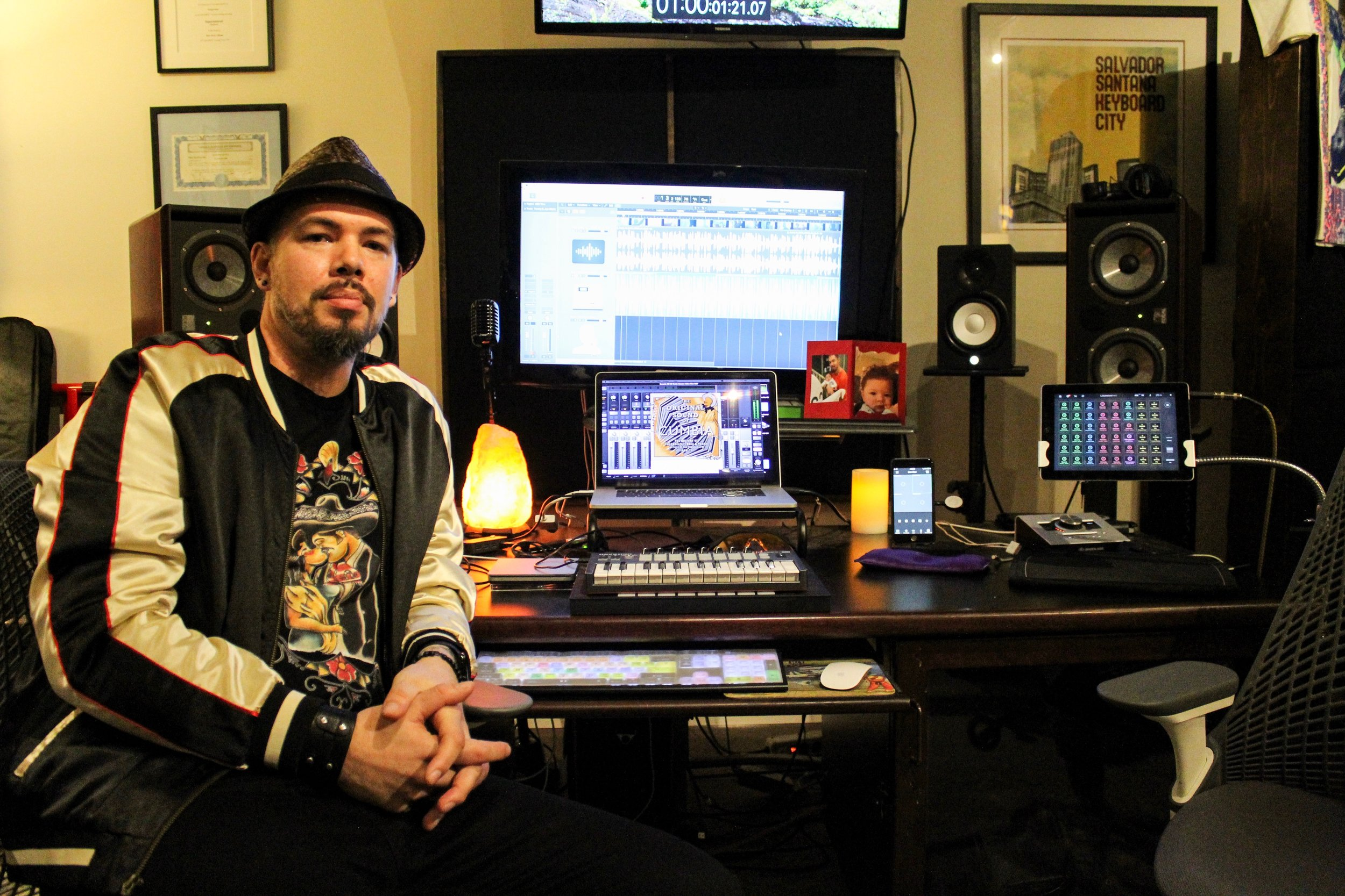 Salvador Santana in his home studio by Roger Martinez