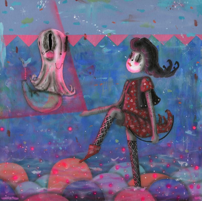 """Ghost Girl"" (acrylic on panel, 18"" x 18"") by Ramiro Davaro-Comas"