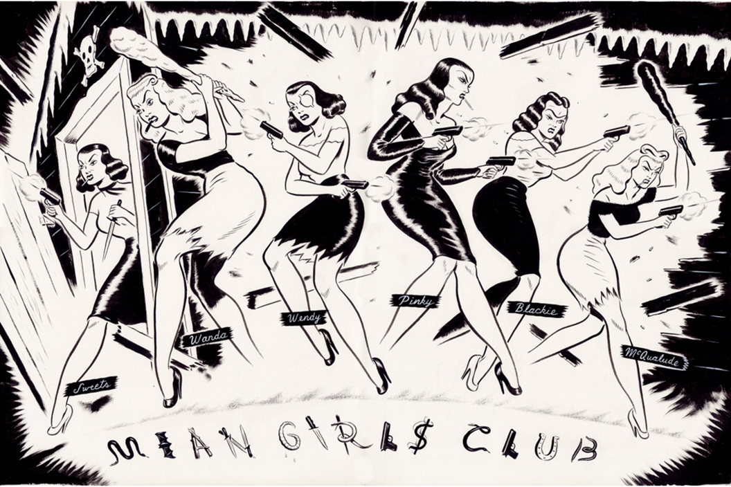 Preview of original artwork from Mean Girls Club: Pink Dawn graphic novel (pages 4 & 5)