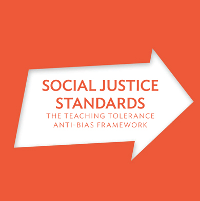 Teaching Tolerance: Social Justice Standards   The Social Justice Standards are comprised of anchor standards and age-appropriate learning outcomes divided into four domains—Identity, Diversity, Justice and Action (IDJA). The Standards provide a common language and organizational structure: Teachers can use them to guide curriculum development, and administrators can use them to make schools more just, equitable and safe. The Standards are leveled for every stage of K–12 education and includes school-based scenarios to show what anti-bias attitudes and behavior may look like in the classroom.    Learn more