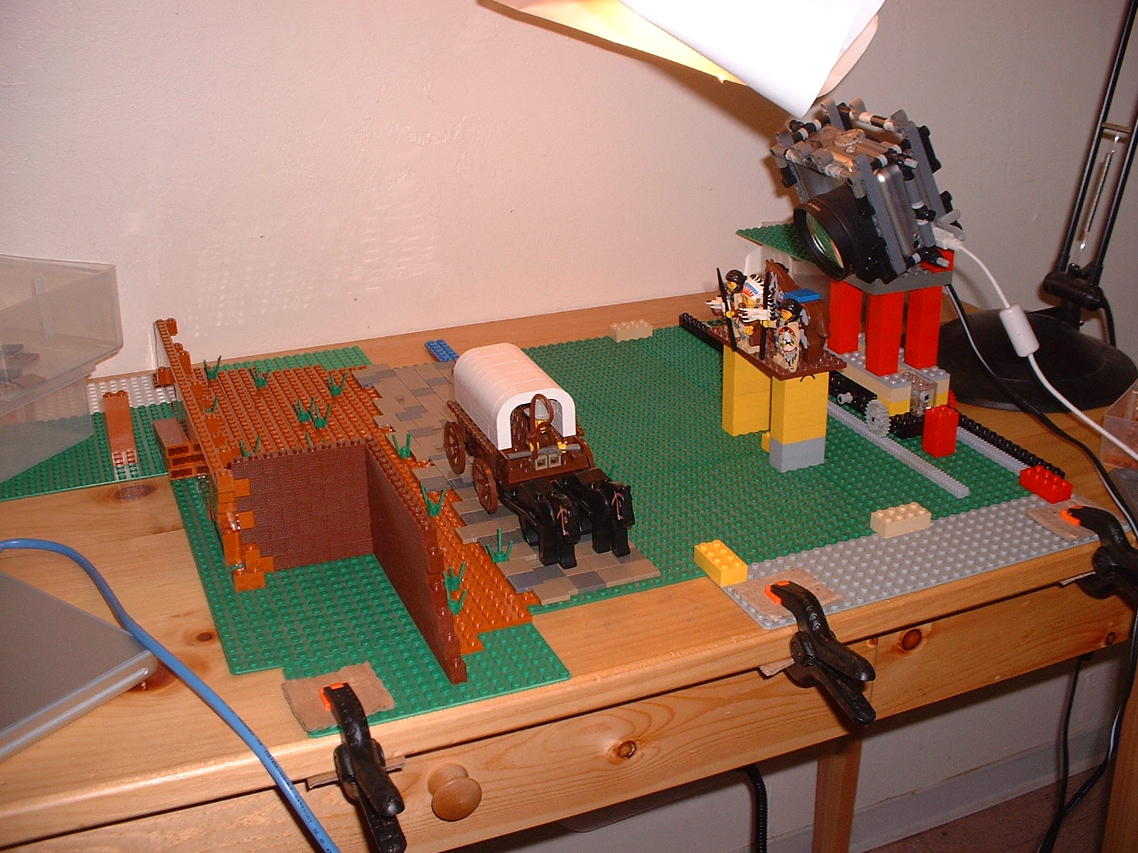 The westward expansion shot required the camera to be on a custom LEGO track to allow for lateral movement
