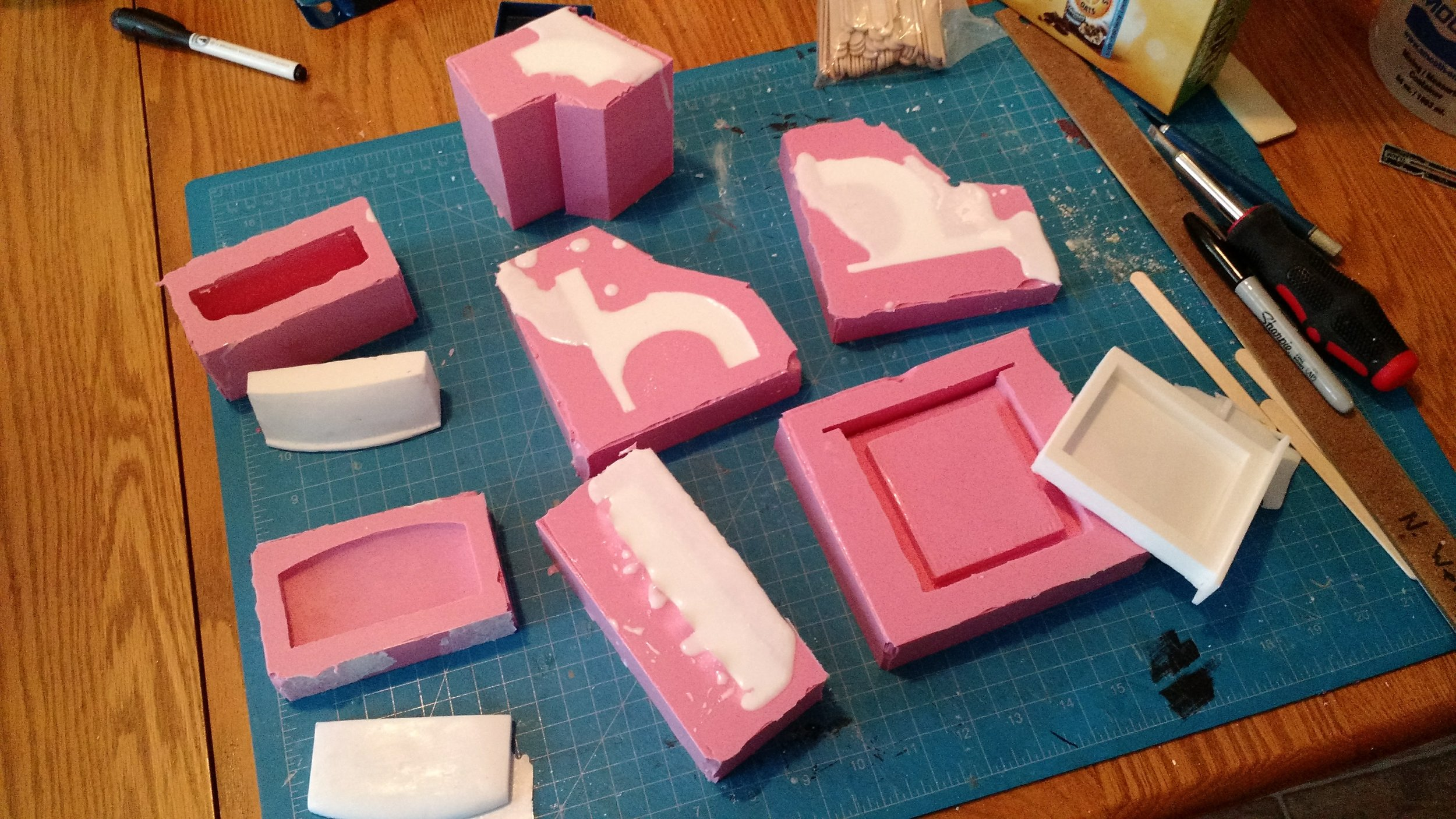 prying the parts out of their molds