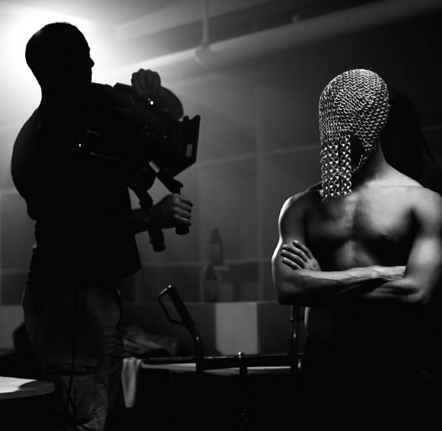Behind the scenes shot of Solomon Golding in CHAINMAIL by Amartey Golding.