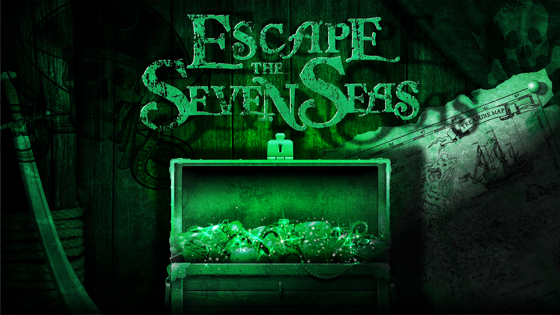 ESCAPE THESEVEN SEAS - COMING SOON!You and your crew have been locked away in the brig. Does your team have what it takes to escape your cell, break into the Captains chamber and steal the treasure all for yourself? Glory and riches await in this exciting escape game.