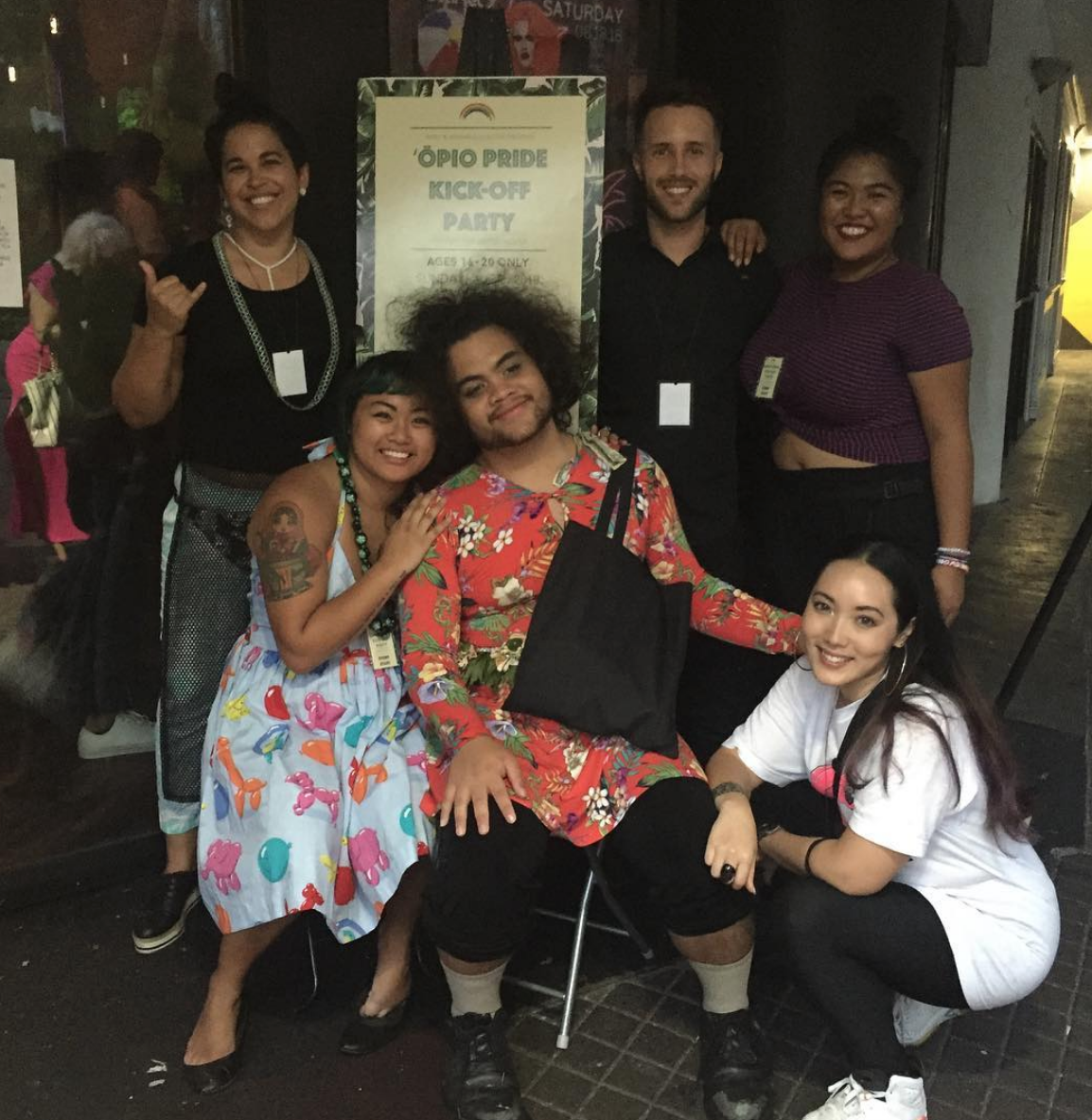 (L to R) Pumehana Cabral, Marie Eriel Hobro, Chris Emory, Jared Perez,  Dulce Ramos, and Maya Uemoto