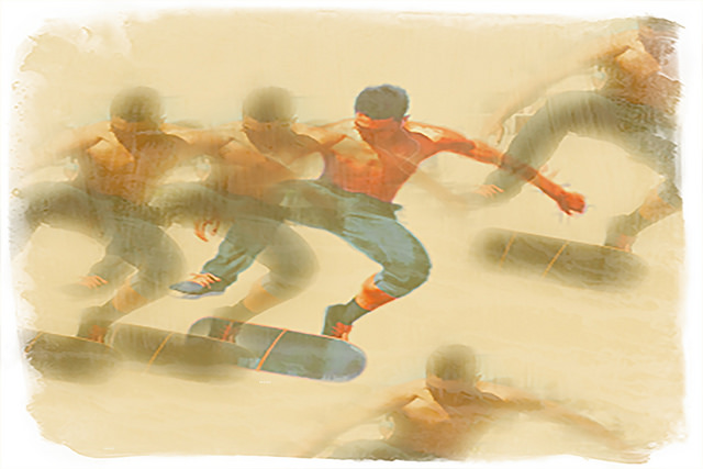 Venice Beach Skaters, archival pigment on printmaking rag.