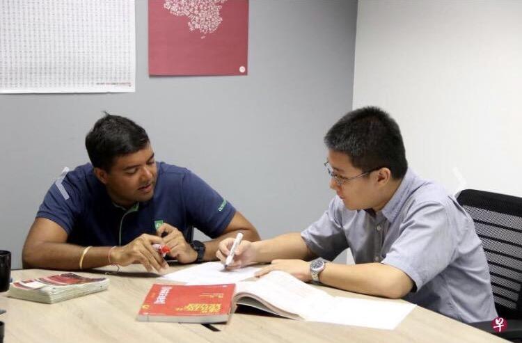 Tushar with his teacher Mr Timothy study Chinese @ Han Hai Language Studio