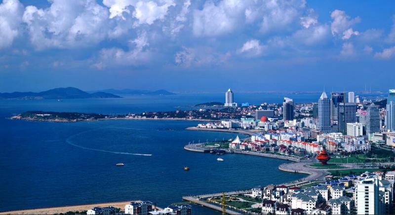The coastline and skyline of Qingdao