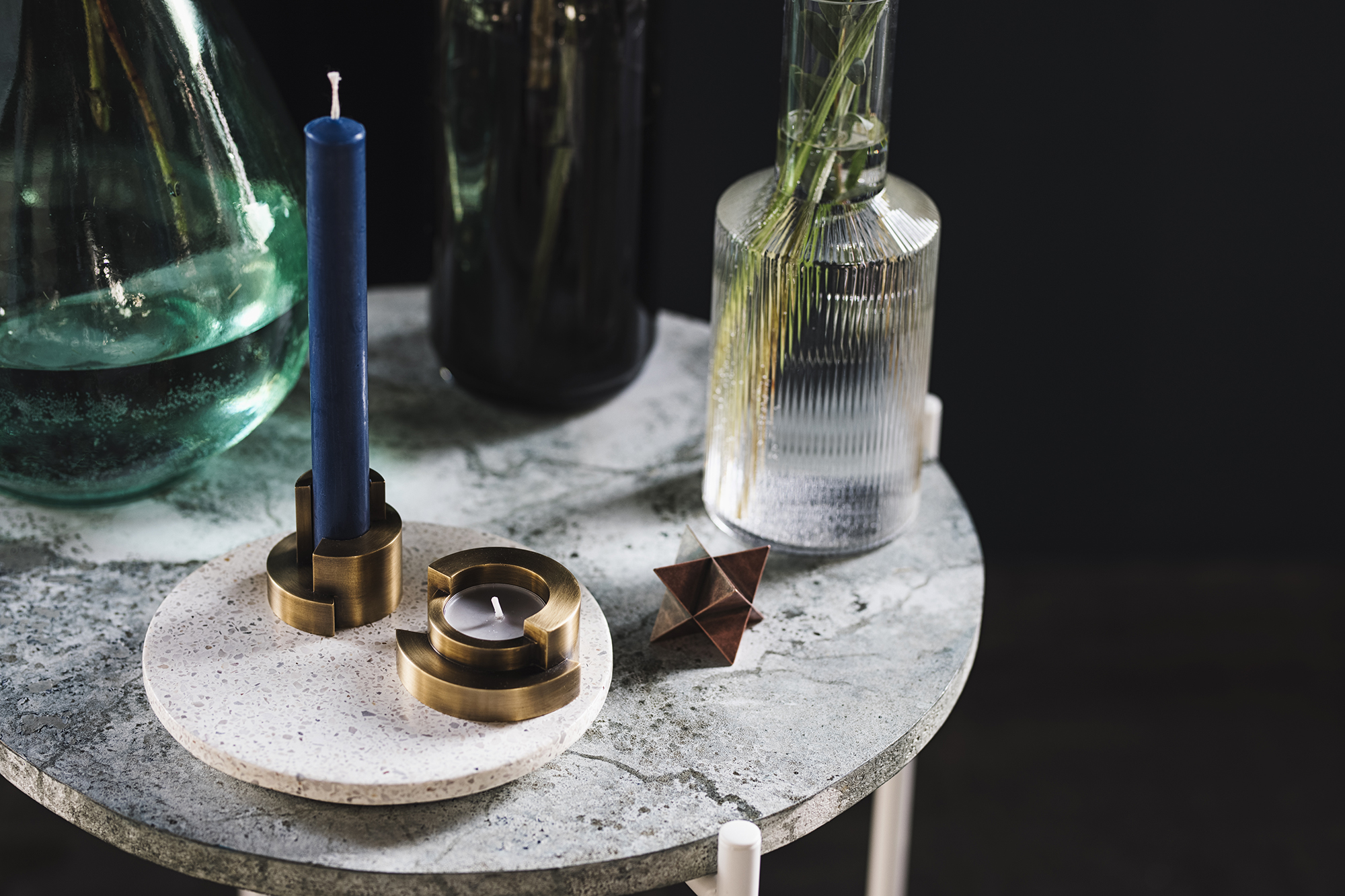 CIRCULAR candle holders  and the  MERKABA paperweight