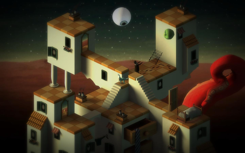 (c)  Back to Bed , Bedtime Digital Games, 2014. Un jeu de puzzle dont l'univers surréaliste fait immédiatement écho à la production des peintres surréalistes du début du XXème siècle, notamment René Magritte, Salvador Dali et par son jeu de la perspective, Giorgio de Chirico.