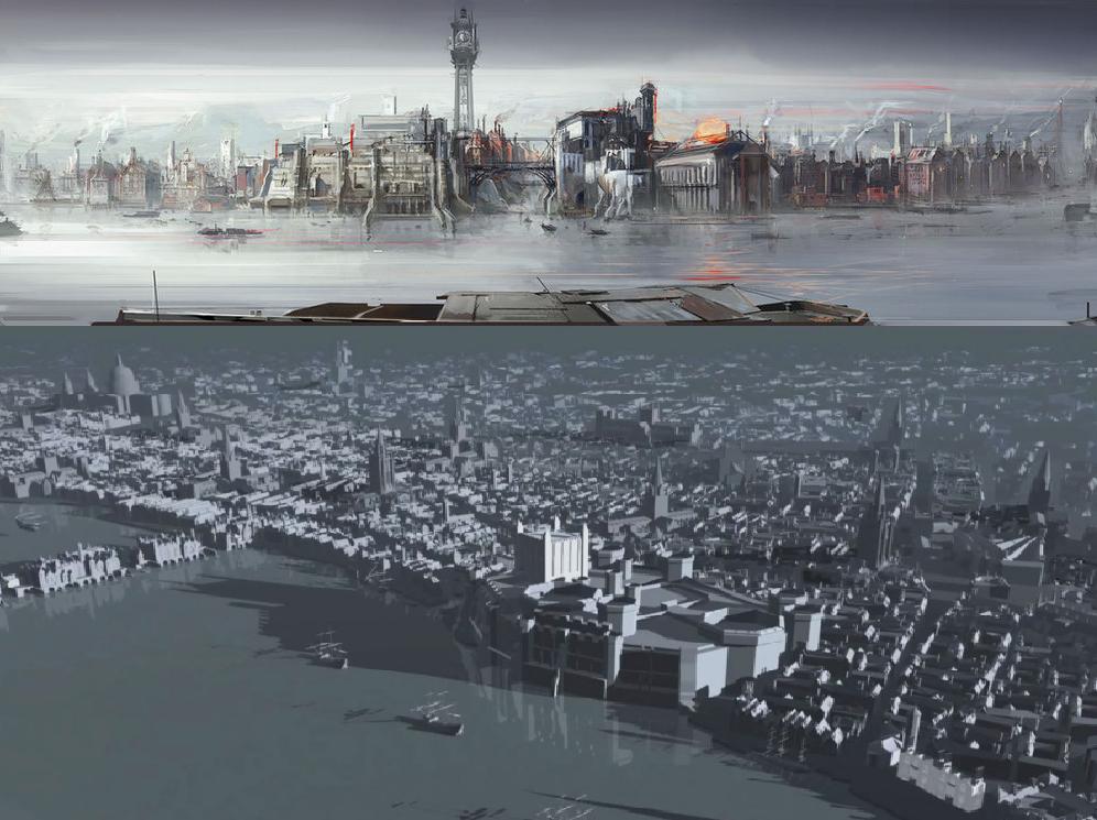(c)    Dishonored , Concept art et modélisation 3D de l'espace de jeu, Arkane Studio, 2012.