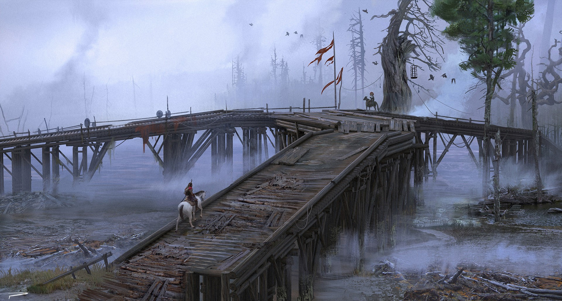 © Hugo Puzzuoli, Wood Bridge, Assassin's Creed Odyssey, Ubisoft.