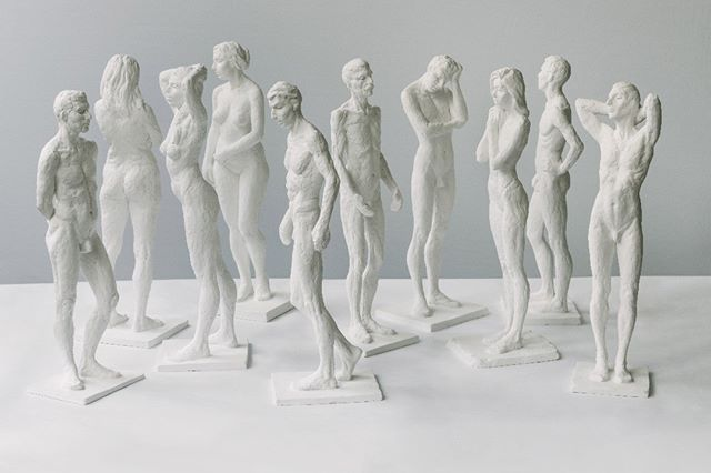 Composition no.1, a grouping of 10 plaster figures from the Impressions series (40 cm). These were all sculpted from one session with an individual posing in the studio in #paris, often someone who had never modelled for art before. Really wonderful to get to work with so many different kinds of people #sculpture #figuresculpture #plastersculpture #impressionsseries