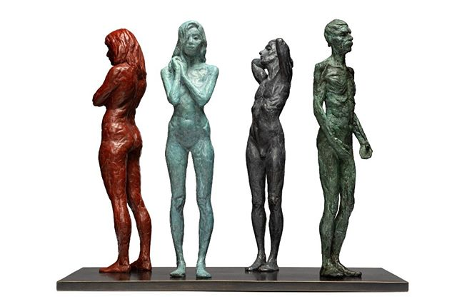 Composition no. 2 from the Impressions series. These 4 figures are cast in lost wax bronze by a traditional Italian foundry, each figure with a different coloured patina. Shown mounted to bronze base. Available