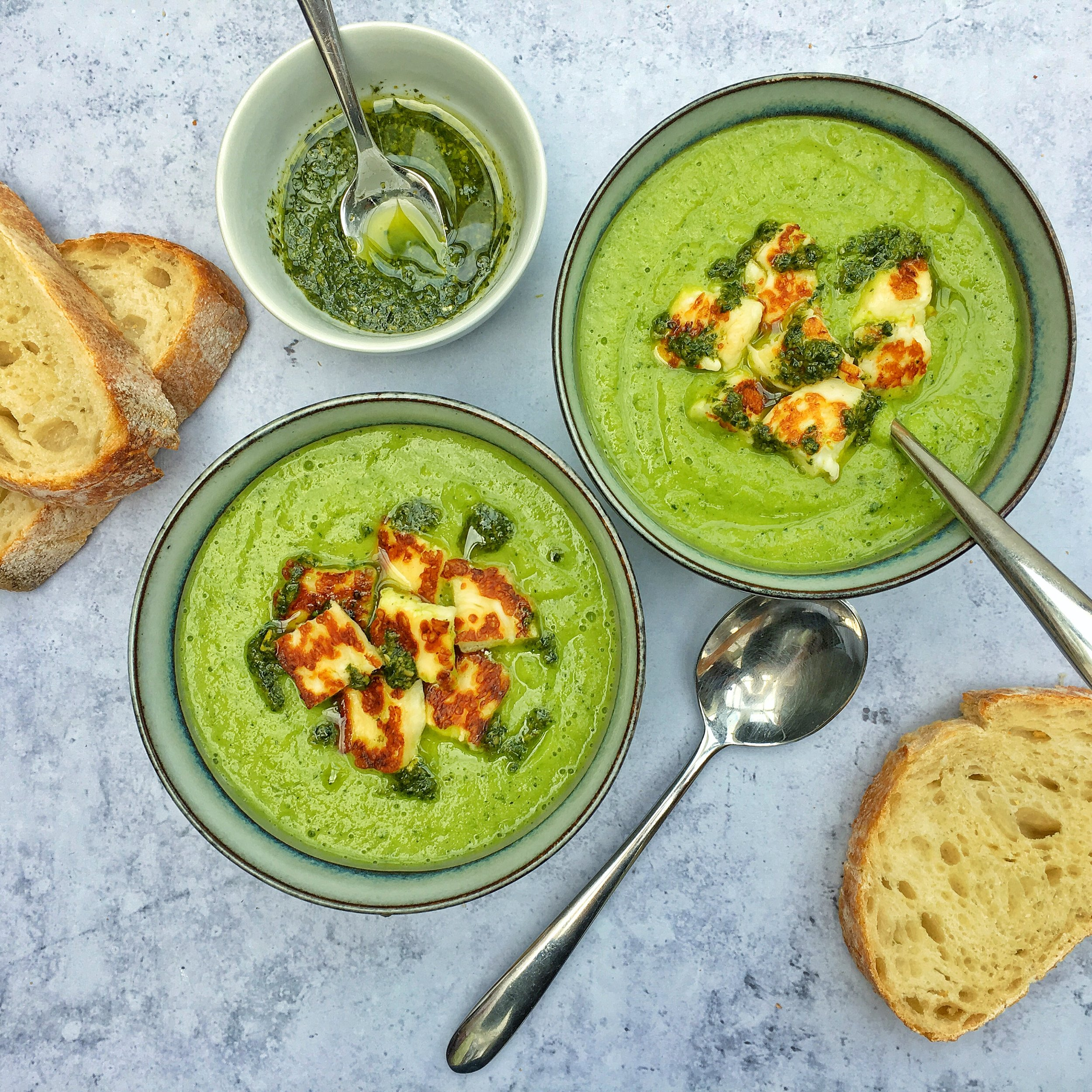Pea and Courgette Soup with Halloumi Croutons.jpeg