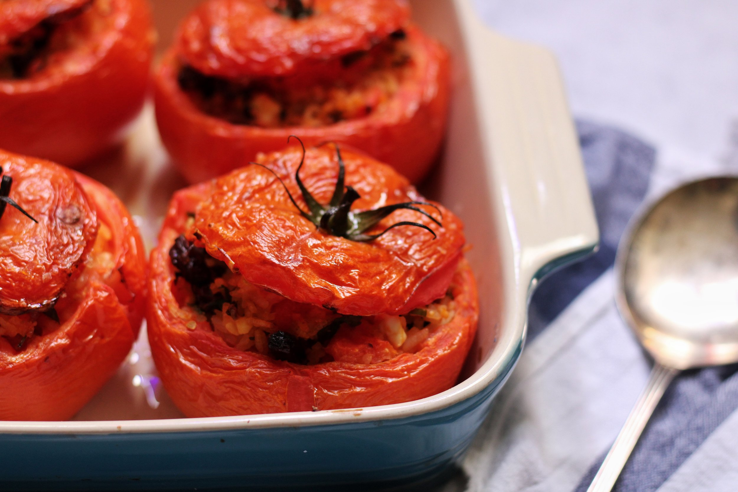Stuffed tomatoes with leftover rice and feta
