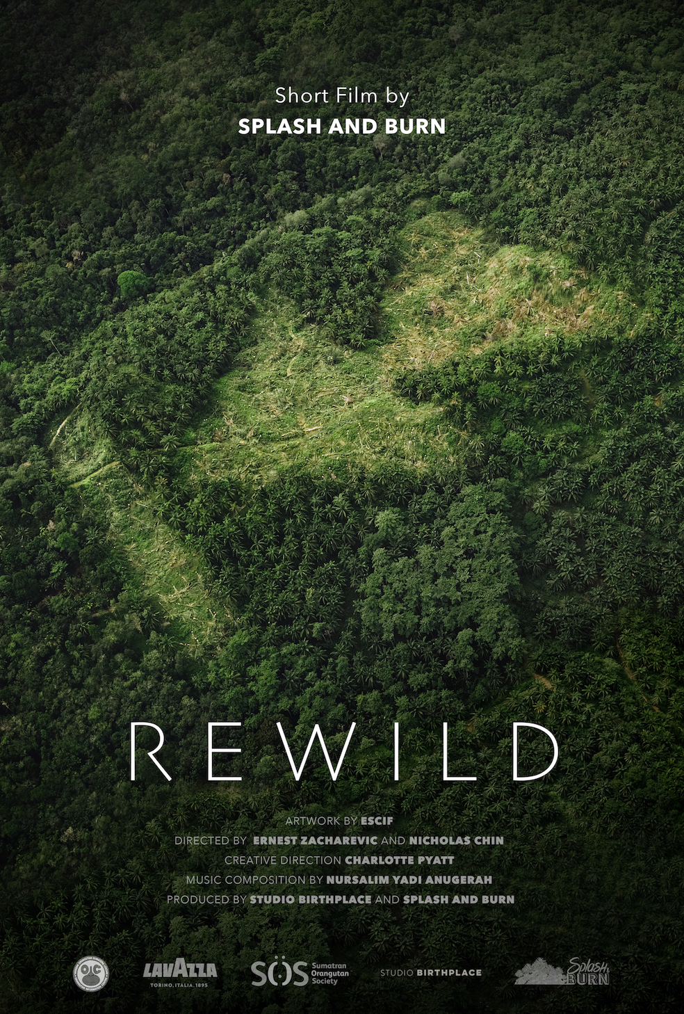 Coming Soon REWILD - REWILD is a short film by Splash and Burn and Spanish artist ESCIF. The film documents the activist art campaign within a new forest restoration site on the borders of the Leuser Ecosystem to reveal a Rewind symbol carved into a palm oil plantation in Sumatra, IndonesiaThe narrative runs in reverse, rewinding the clock on deforestation to undo the damage caused by the unsustainable production of one of the worlds most versatile commodities. Beyond the industrialisation of the land, we end at the beginning, a thriving eco system alive with wildlife. The concept mirrors the real world action of the Sumatran Orangutan Society and their partners in reclaiming land on the borders of the Leuser rainforests to rewild them with indigenous trees, expanding the boundaries of one of the most biodiverse places on earth.REWILD is produced by Studio Birthplace together with a soundtrack by Indonesian composer Nursalim Yadi Anugerah, known for his interesting approach to instrumentation and composition as an ethnomusicologist*