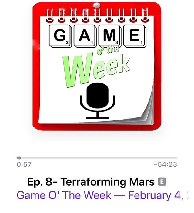 "Newest episode is up on Apple Podcasts, Stitcher, & Google Play! Give us a listen and tell us what game YOU think should be next week's ""Game O' The Week!"" #boardsgames #cardgames #tabletopgames #terraformingmars #gotweek #gameotheweek #podcasts"