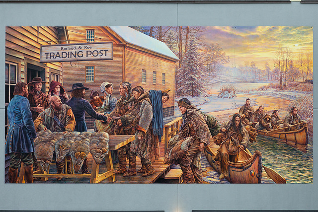 Artist John Kuna's depiction of what a first meeting between the Aboriginial communities and the Quaker community in what is now, present day Newmarket, might have looked like.