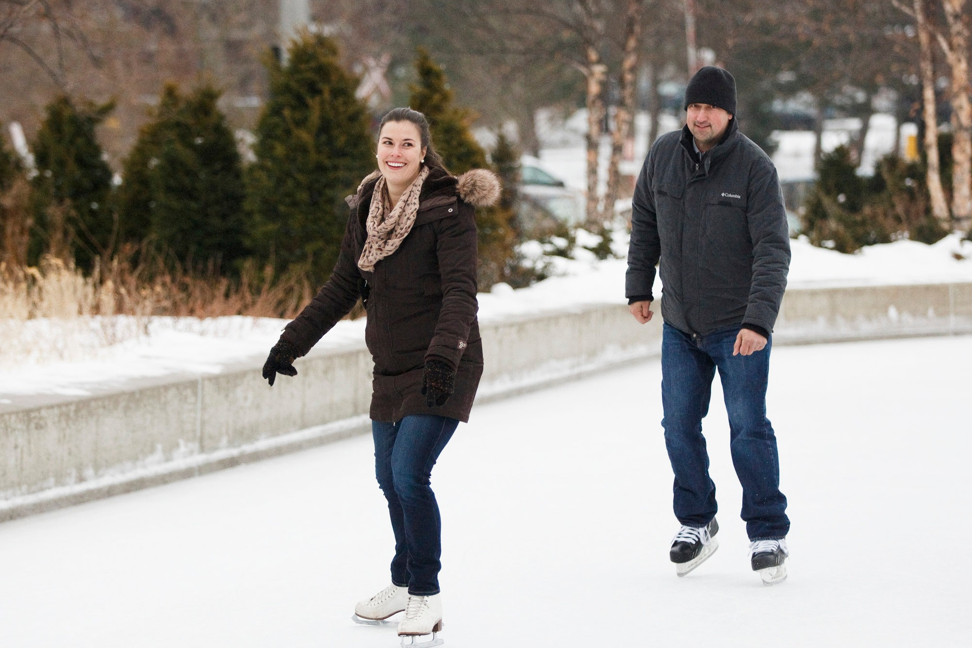 Skating at Newmarket's romantic Riverwalk Commons