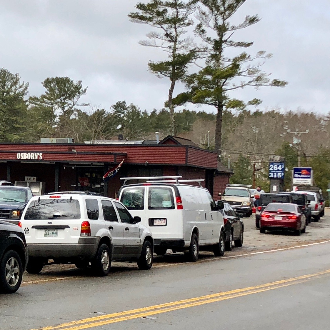 Incredibly, Osborn's general store on route 53 was open for business on Saturday. I drove all around Duxbury, Kingston, Pembroke; all businesses and homes were without power.