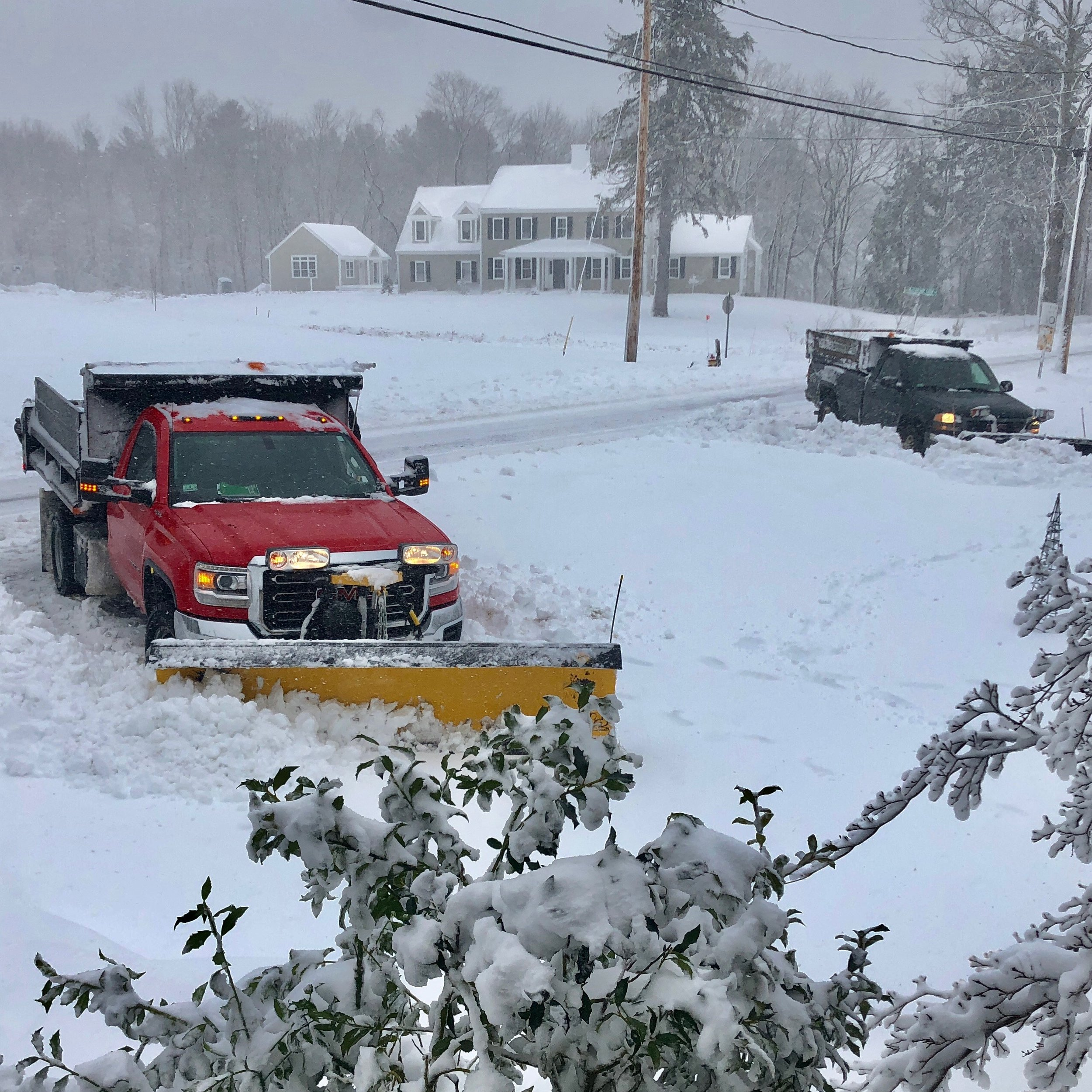 "5:00 PM - the snow is so thick and heavy that these two plows got stuck in our ""U"" driveway"