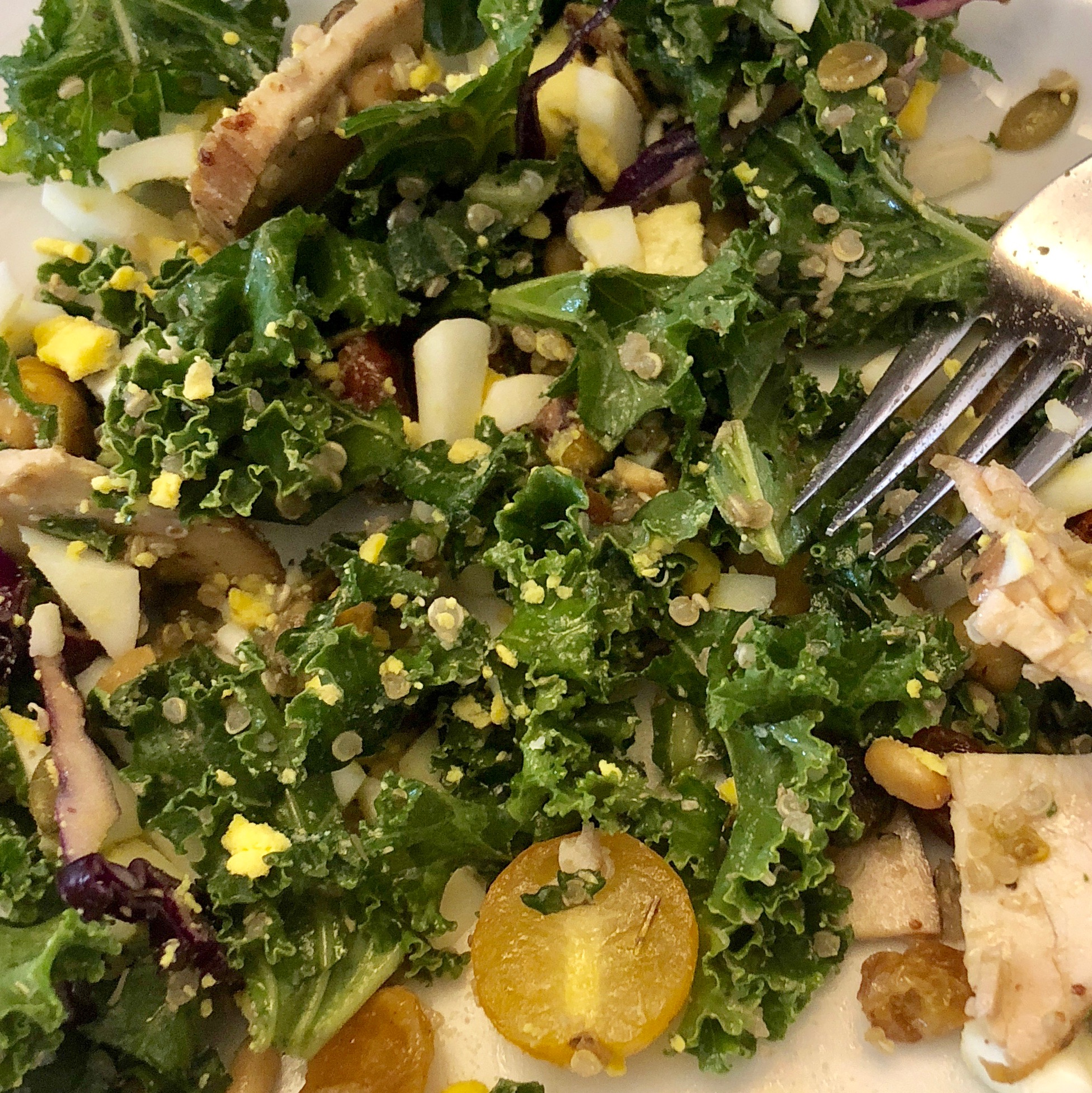 Kale, yellow cherry tomatoes, quinoa, organic chicken, mushrooms, red cabbage and a hard boiled egg, tossed in olive oil and lemon dressing.