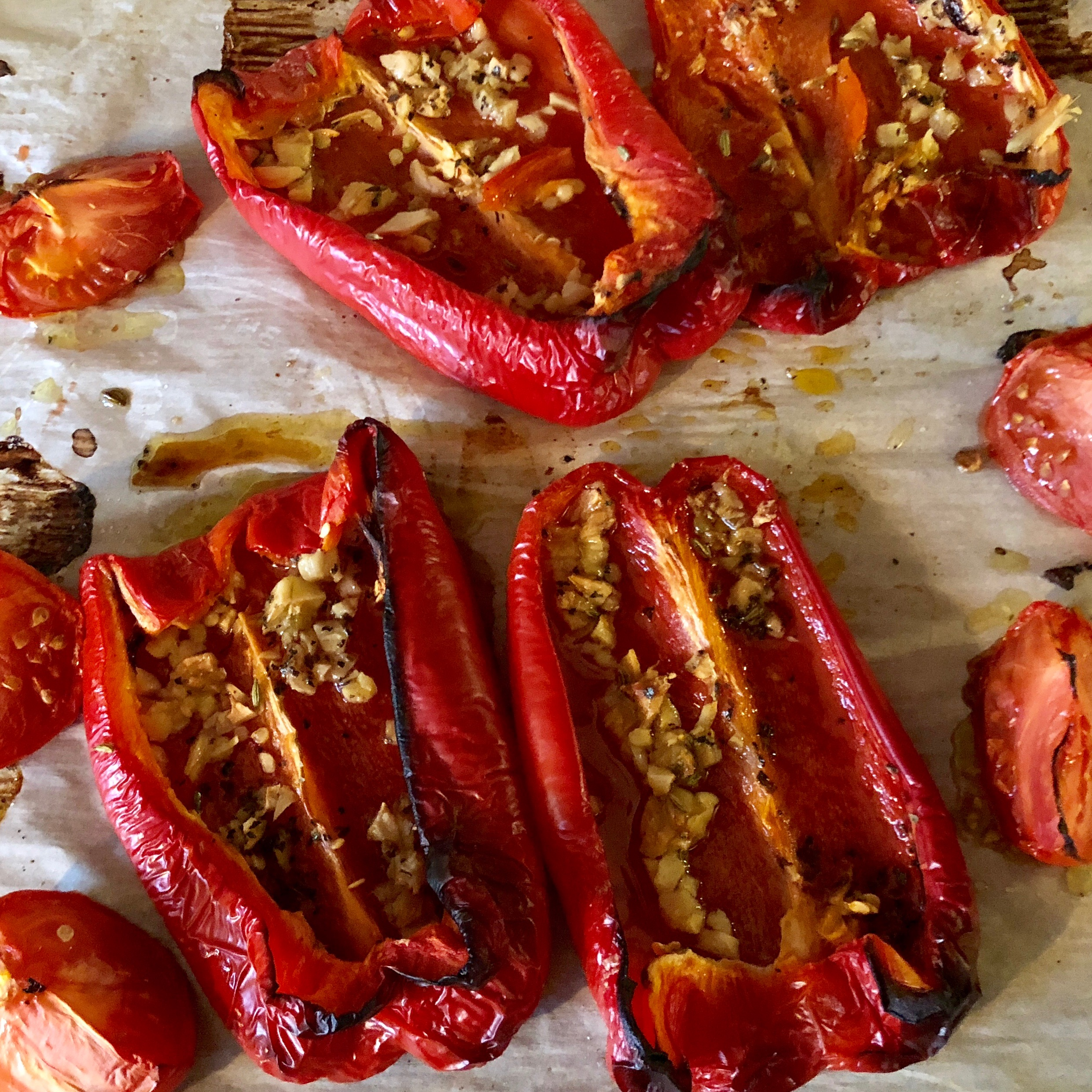 The peppers were drizzled with a little olive oil and topped with crushed garlic.