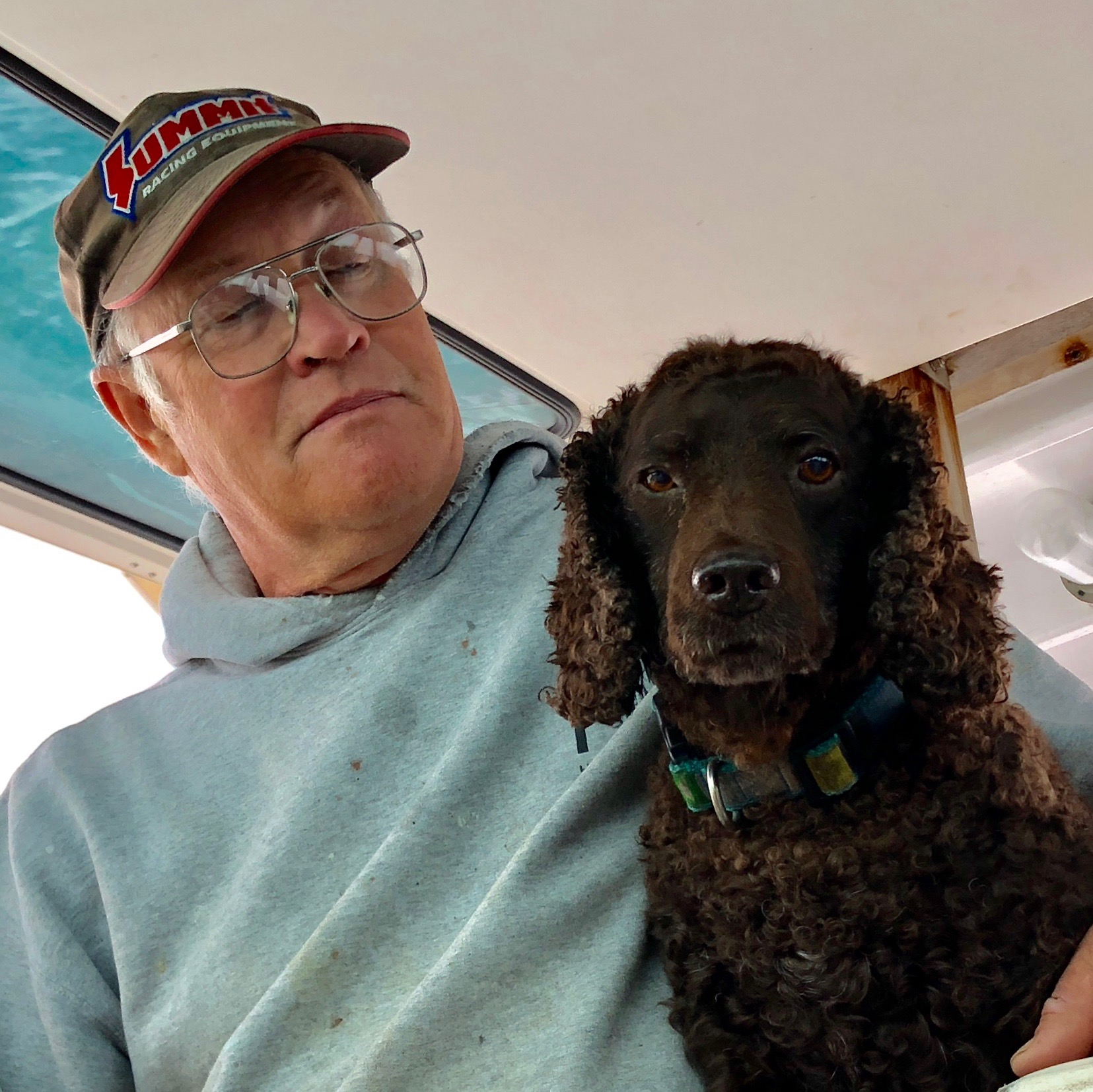 The Captain, Doug, and his seasoned first mate, Sassy. She's an awesome companion to have aboard and knows the ropes ...