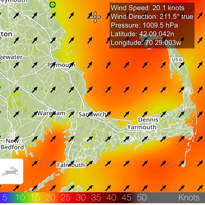Monday, June 18: winds blowing at a steady 20 knots ...